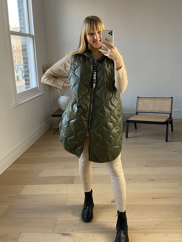 Love Quilted Zip Gilet in Khaki