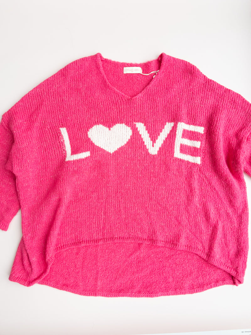 Love High Low Knitted Jumper in Fuchsia/White