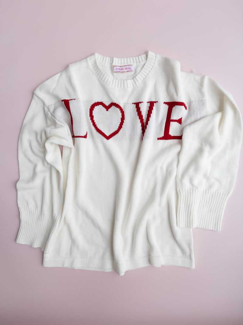 Love Cosy Jumper In White/Red