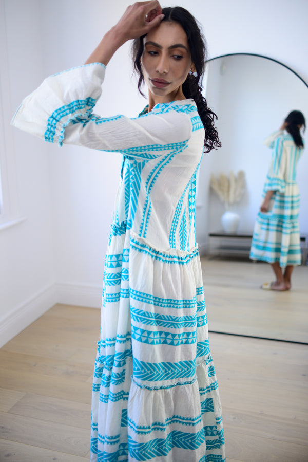 Premium Aztec Embroidered Long Dress in Aqua