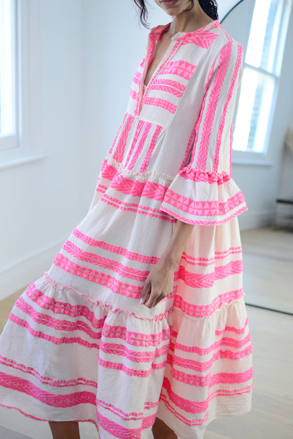 Premium Aztec Embroidered Long Dress in Hot Pink
