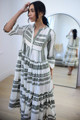 Premium Aztec Embroidered Long Dress in Khaki