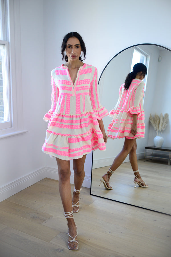 Premium Aztec Embroidered Short Dress in Light Pink