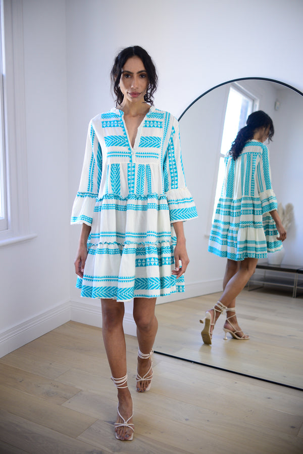 Premium Aztec Embroidered Short Dress in Aqua