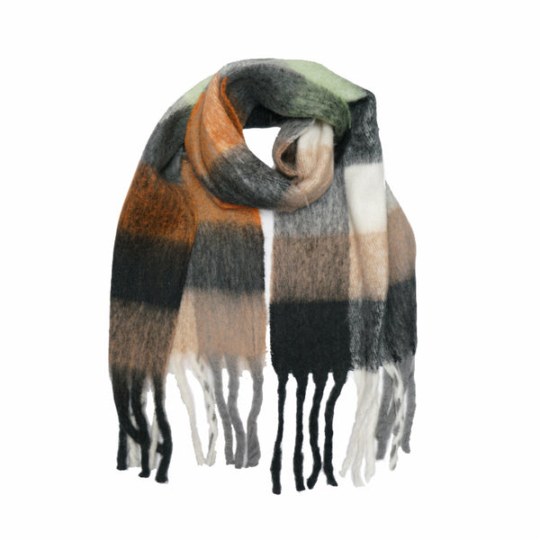 Multi Check Oversized Scarf - Ochre/Black Palette