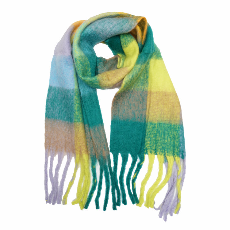 Multi Check Oversized Scarf - Lilac/Green Palette