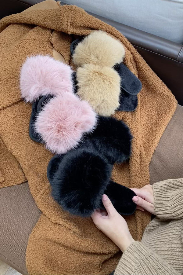 Faux Fur Fluffy Slippers In Black