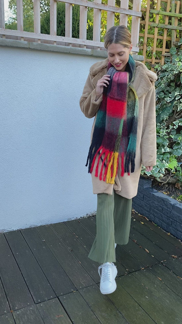 Multi Check Oversized Scarf