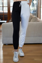 Half Moon High Waisted Joggers in Black/White