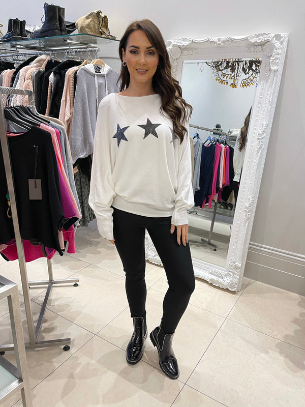 Tri Star Knit in White