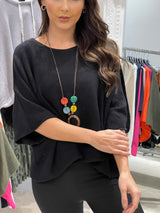 Cropped Knit with Necklace In Black