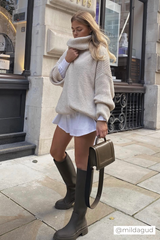 Longline Chunky Knit Roll Neck Jumper In Ivory