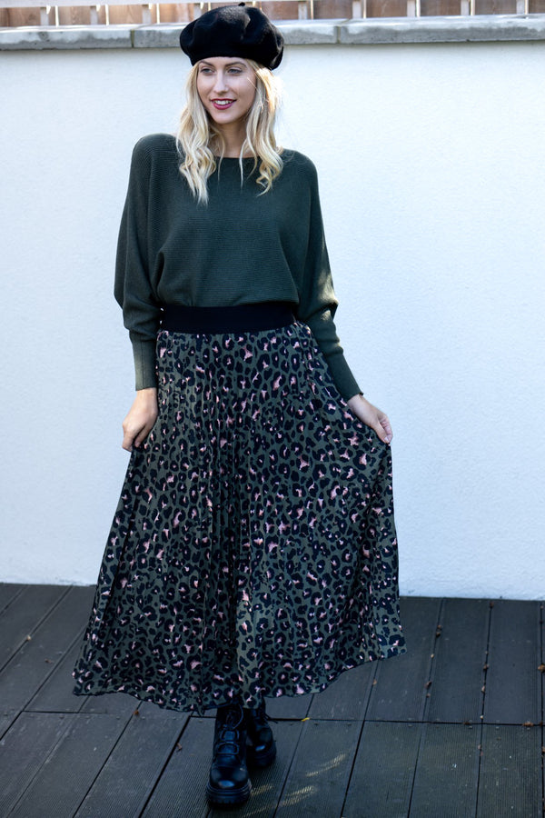 Leopard Print Pleated Midi Skirt in Khaki