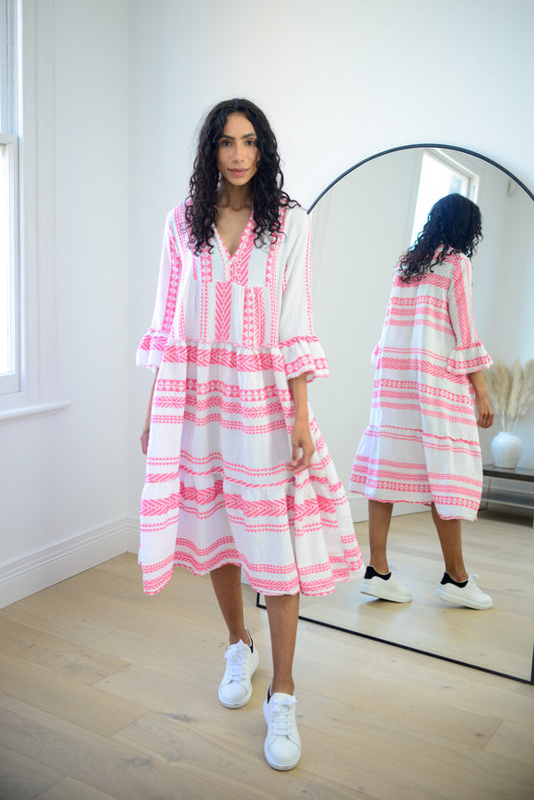 Aztec Cotton Midi Dress in Hot Pink
