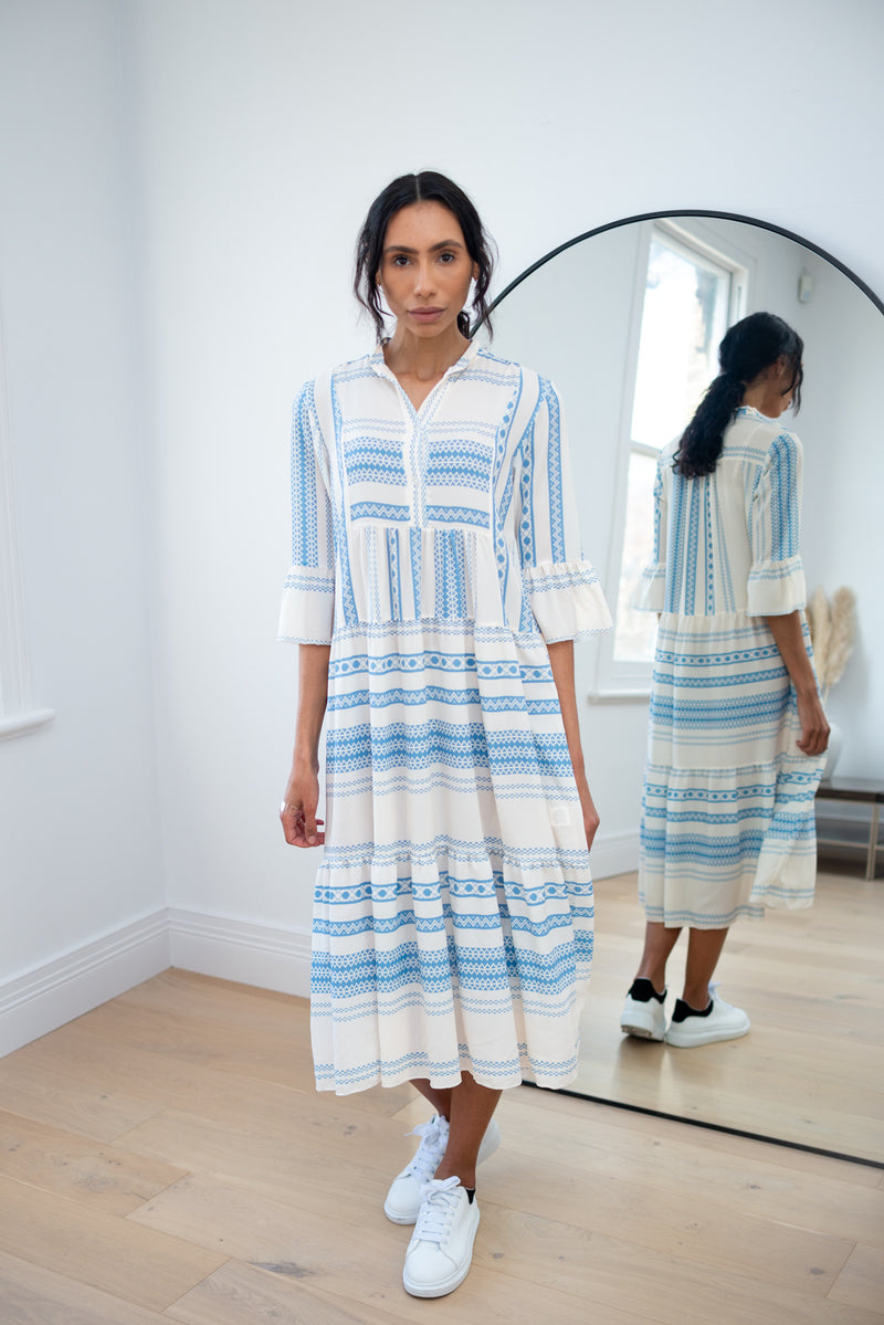 Aztec Tiered Midi Dress in Light Blue