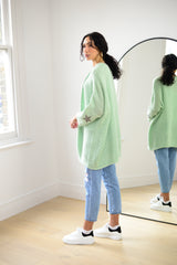 Knitted Open Cardigan (Star Sleeve) In Mint Green