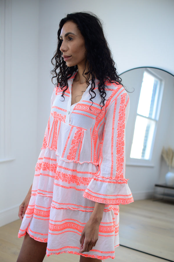 Floral Aztec Cotton Smock Dress In Coral