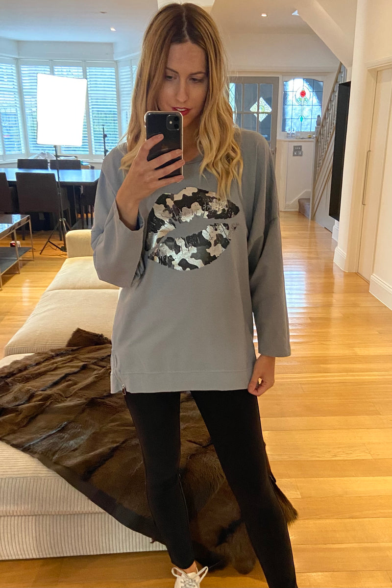 Metallic Lips Slouchy Sweatshirt in Grey