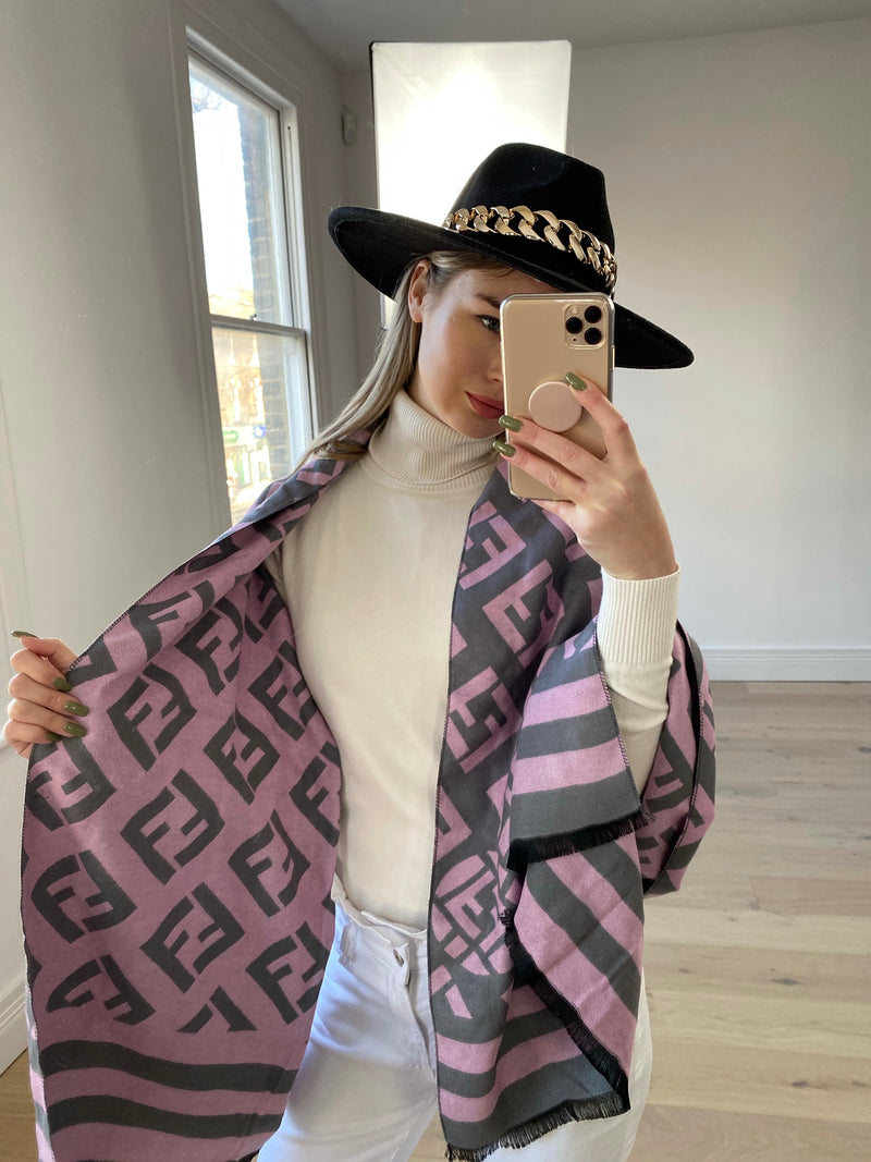 FF Printed Scarf in Pink/Grey