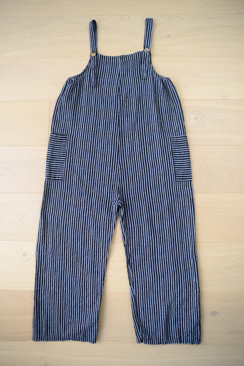 Striped Lightweight Dungarees in Navy