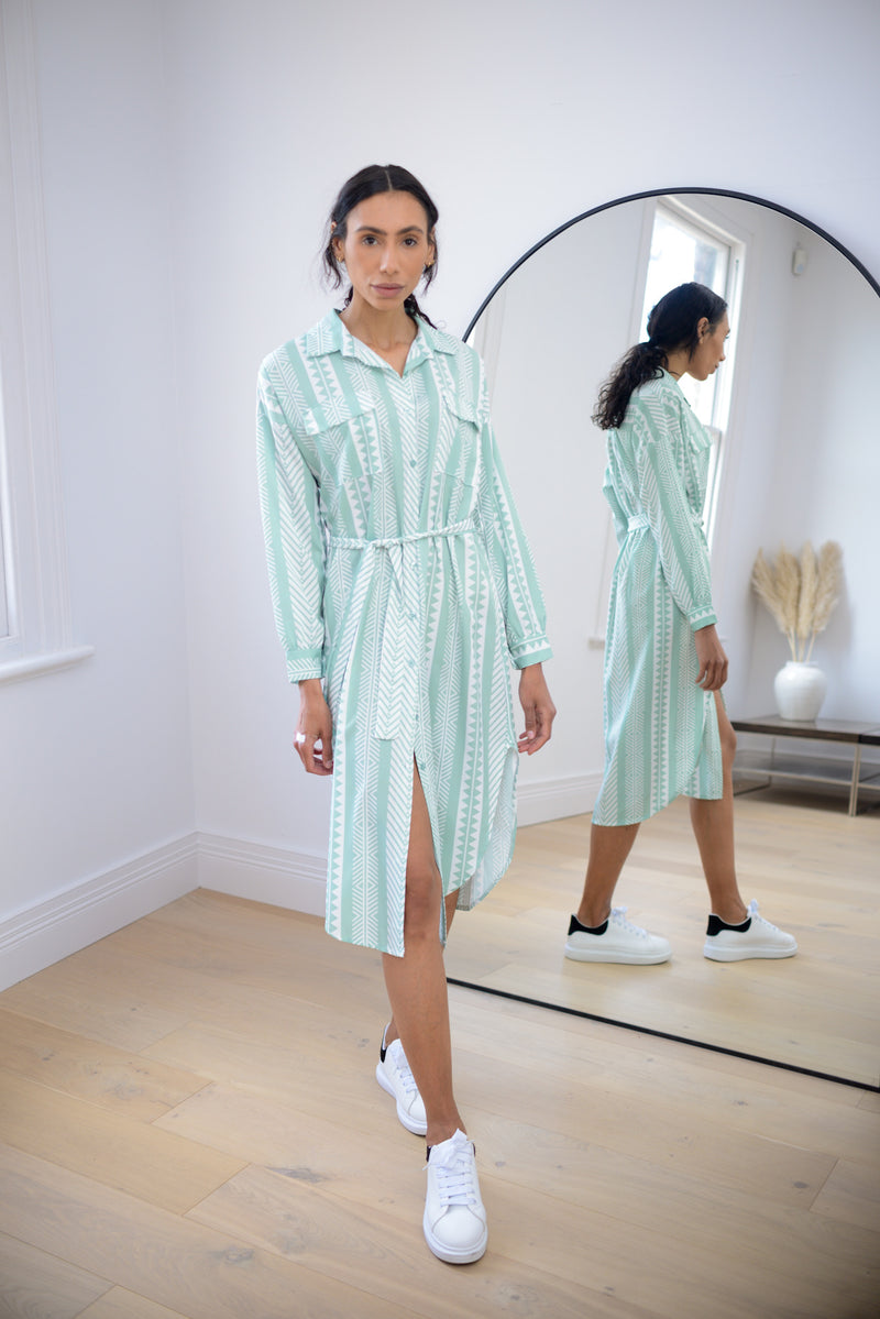 Aztec Belted Shirt Dress in Mint