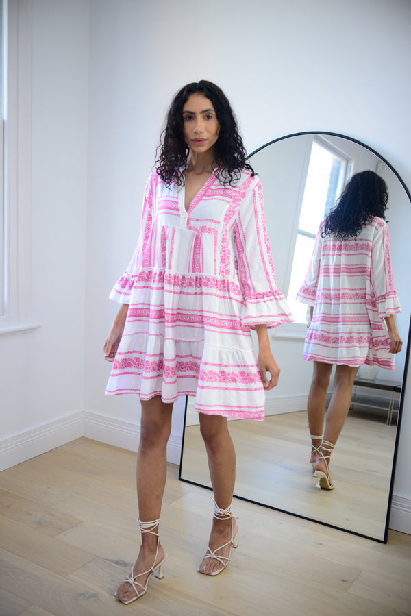Floral Aztec Cotton Smock Dress In Hot Pink