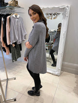 Wrap Hem Roll Neck In Grey