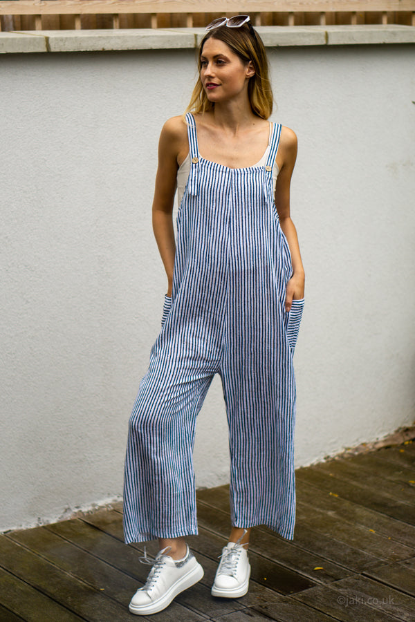 Cotton Dungarees in White