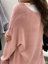 V-Neck Raw Edged Knit In Light Pink