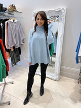 Relaxed Fit Ribbed Roll Neck In Light Blue