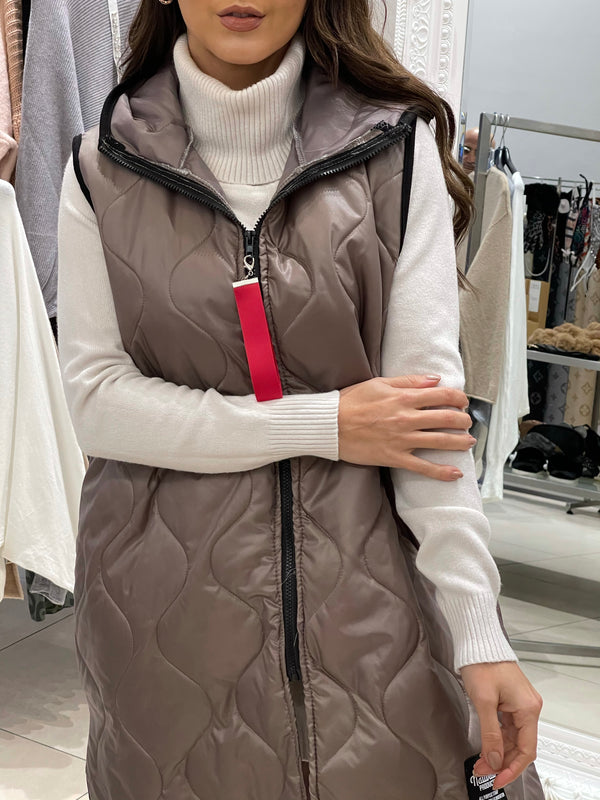 Longline Quilted Gilet Jacket In Taupe