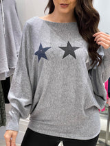Tri Star Knit In Grey