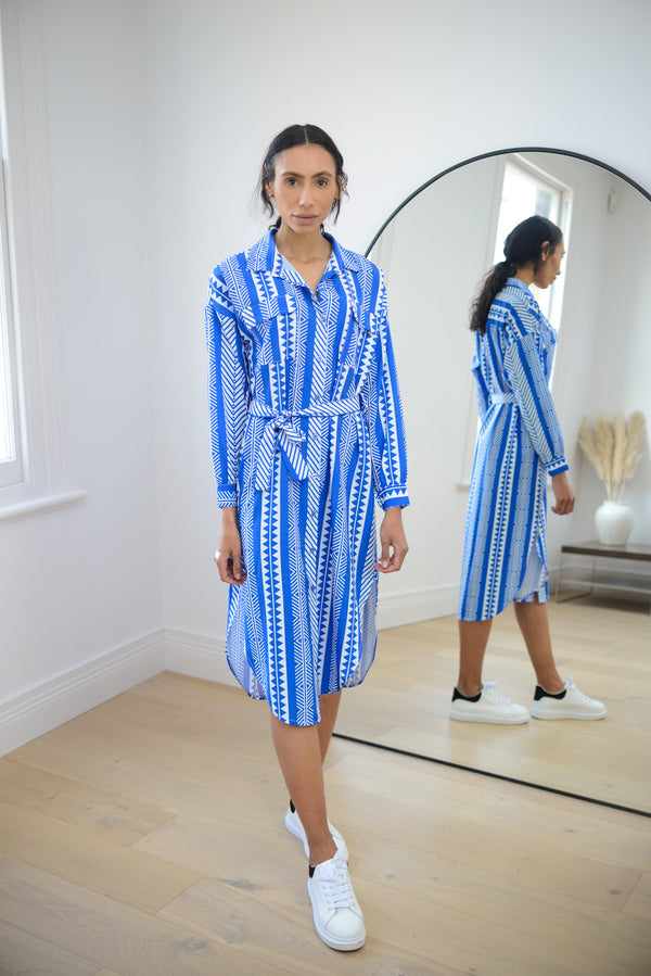 Aztec Belted Shirt Dress in Royal Blue