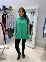 Relaxed Fit Ribbed Roll Neck In Green