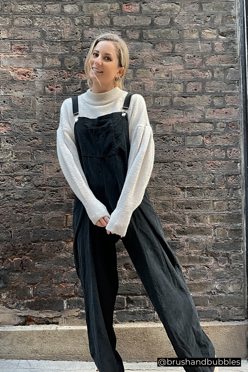 Corduroy Buckle Up Dungarees in Black