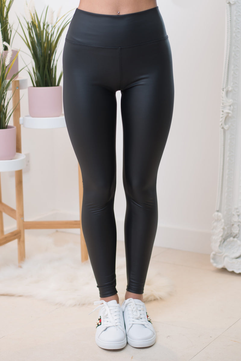 Candi Faux Leather Leggings in Black