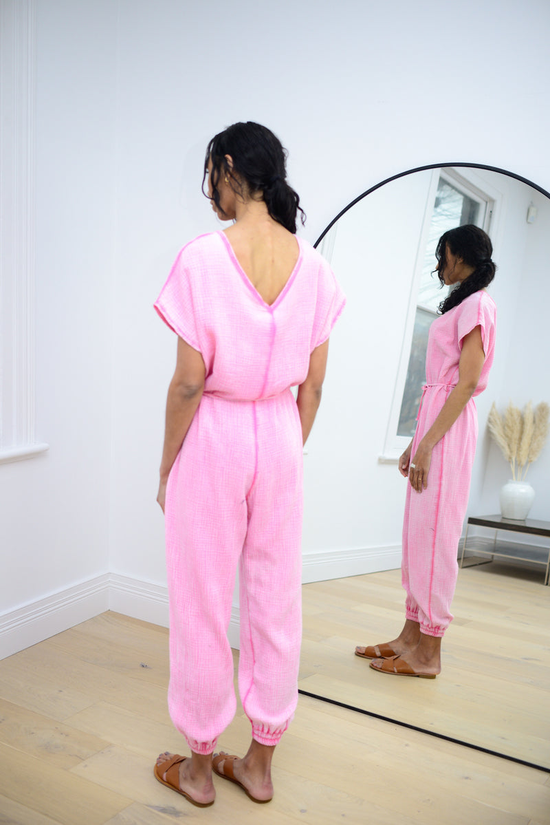 Cheesecloth Jumpsuit in Fuchsia