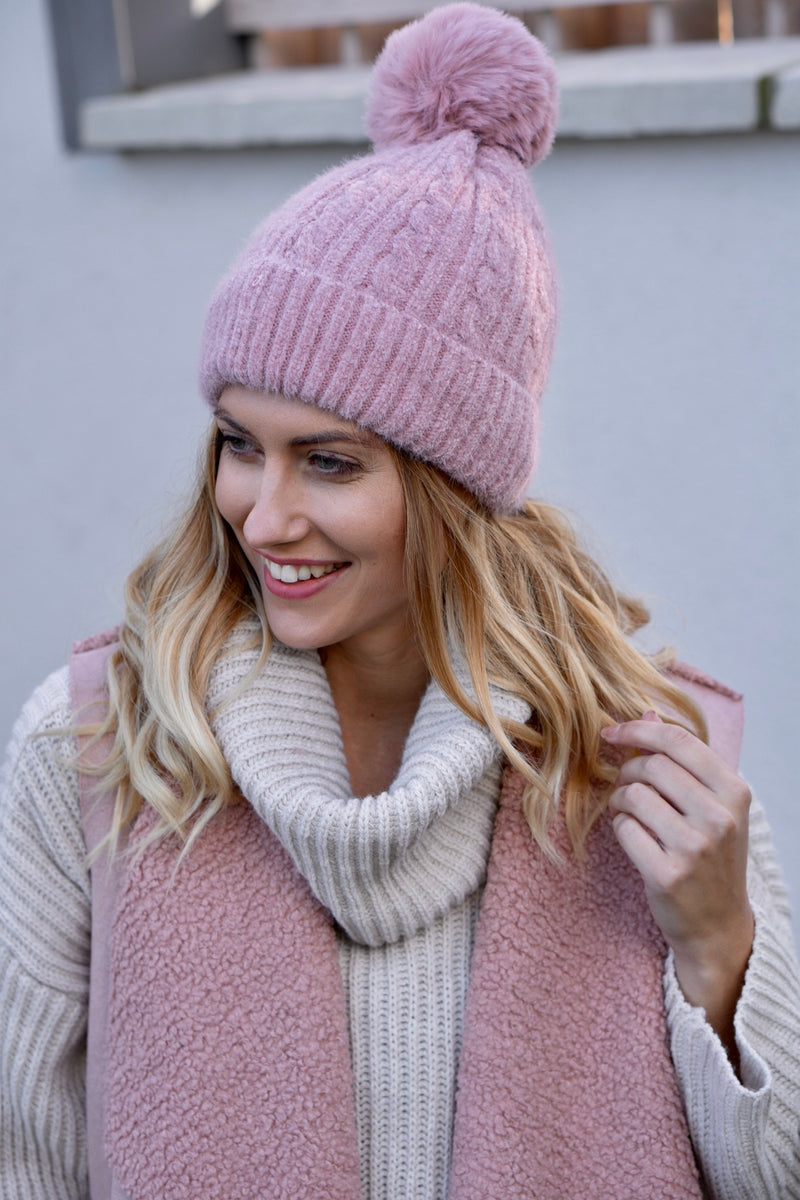 Cable Knit Faux Fur Bobble Hat In Light Pink
