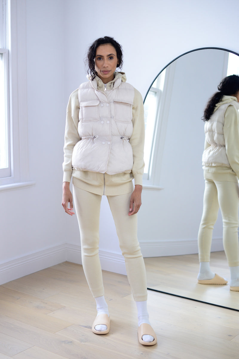 Puller Padded Gilet In Cream