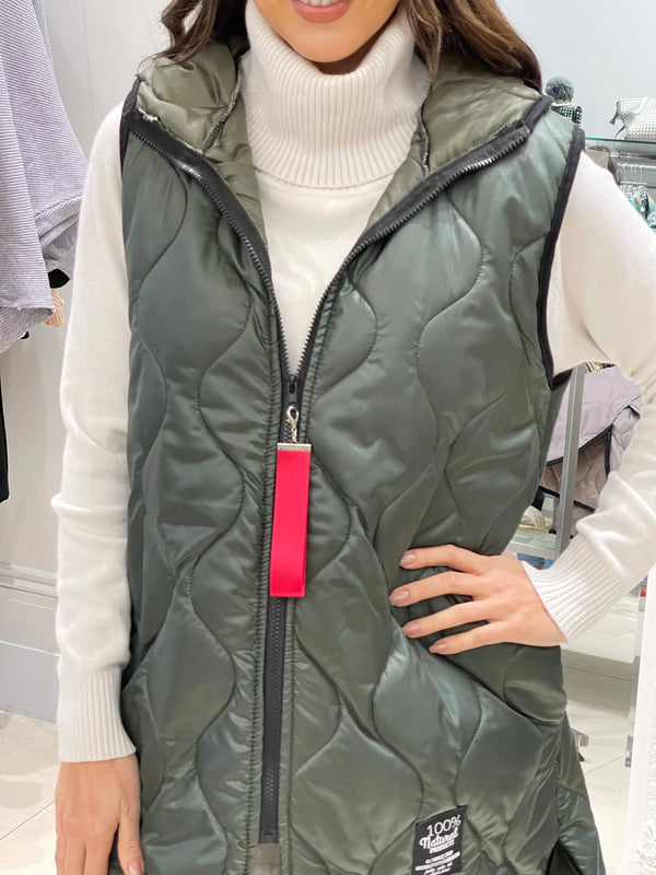 Longline Quilted Gilet Jacket In Khaki