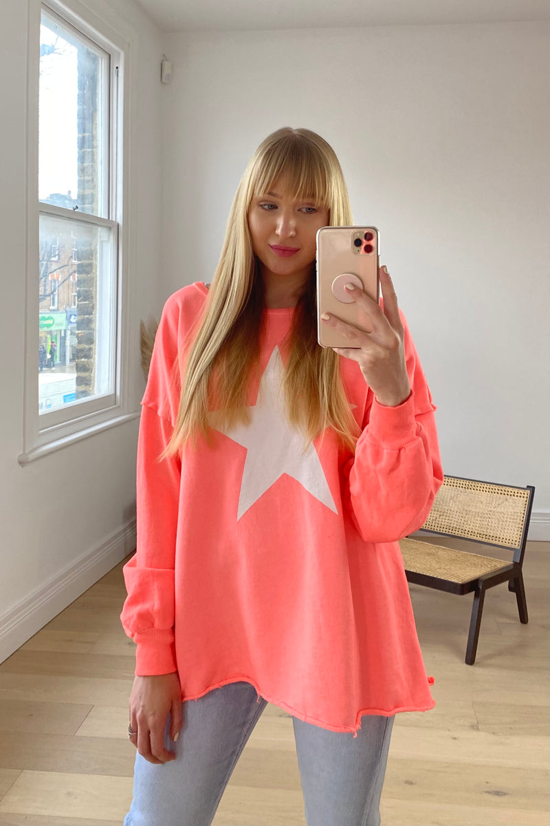 Star Stonewashed Sweatshirt In Coral/White