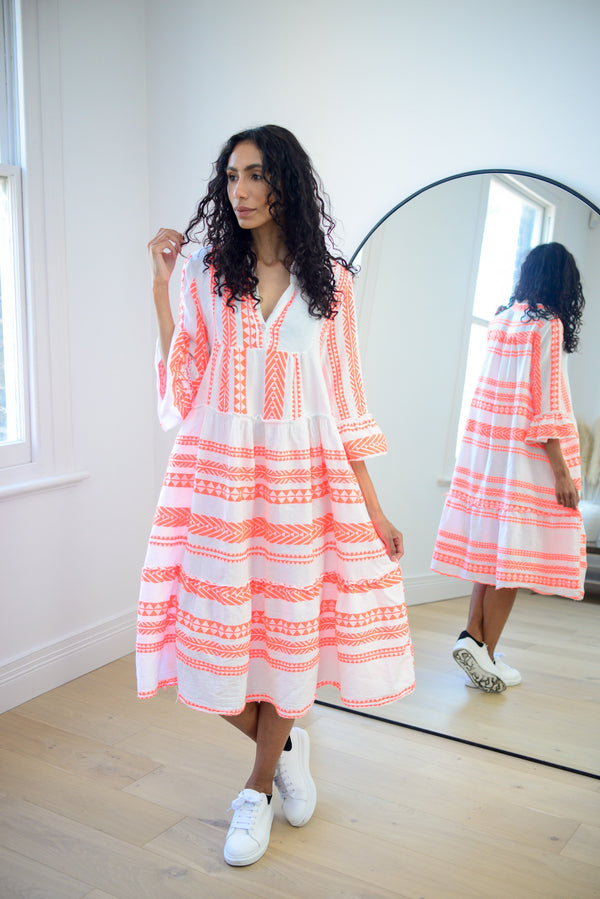 Aztec Cotton Midi Dress in Coral