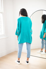Knitted Open Cardigan (Star Sleeve) In Turquoise