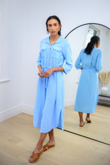 Belted Cotton Shirt Dress In Light Blue