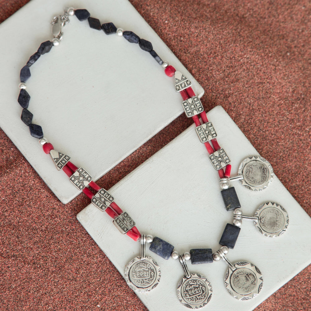 Load image into Gallery viewer, BLUE-CORAL COINS NECKLACE