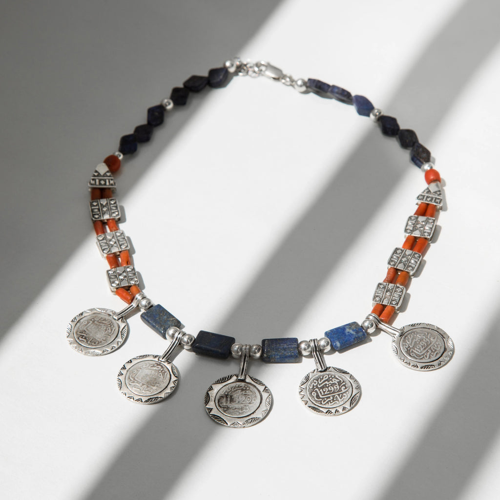 COLLIER BLUE-CORAL COINS