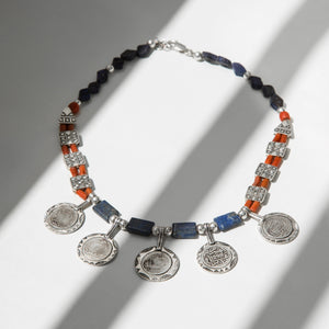 BLUE-CORAL COINS NECKLACE
