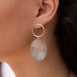 Load image into Gallery viewer, GREY HALF SPIRALS EARRINGS