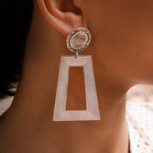 Load image into Gallery viewer, BOUCLES D'OREILLES TRAPEZOID COINS