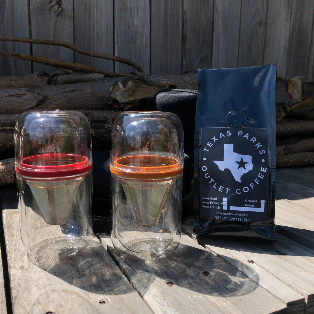 TxPO Double Wall Glass Pour Over + Coffee